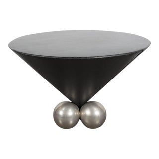 Occasional Leather-Clad and Chrome Table by Jay Stanley Friedman for Brueton