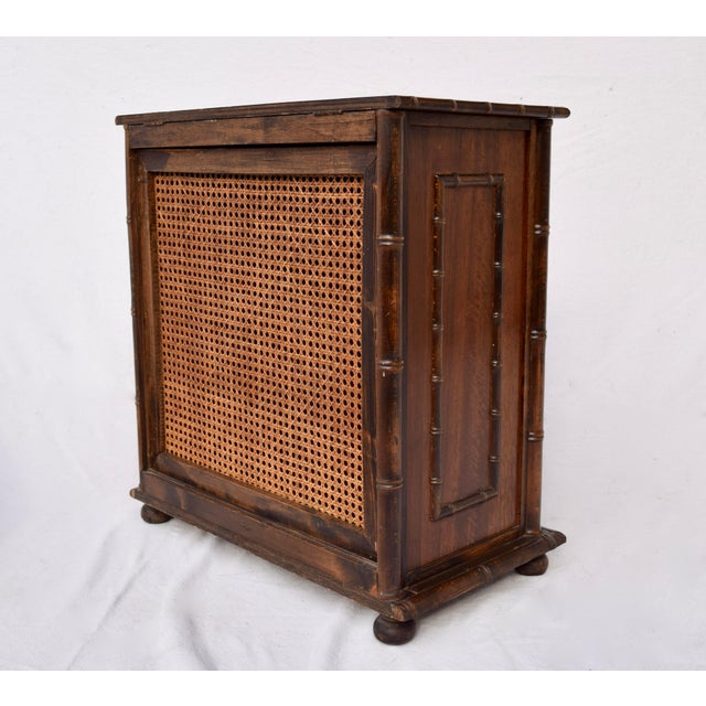Chinese Chippendale Caned Faux Bamboo Hamper For Sale - Image 4 of 11