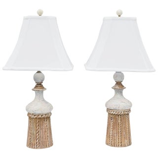 Pair of Gesso and Parcel Gilt Italian Tassel-Form Lamps For Sale
