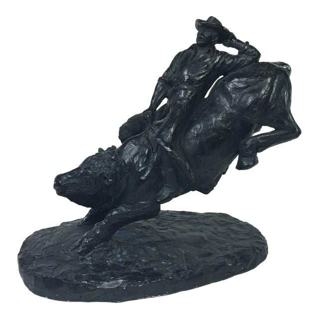 1979 Austin Productions Bull Cowboy Rider Sculpture - Image 1 of 11