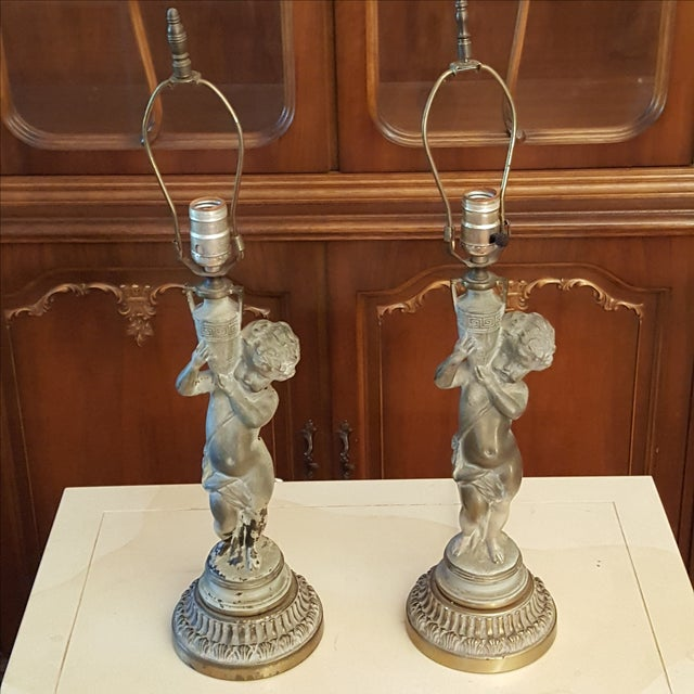 19th C French Patinated Bronze Cherub Lamps - Pair - Image 6 of 7