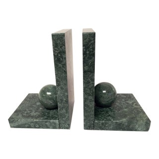 1970s Mid-Century Modern Green Marble Bookends - a Pair For Sale