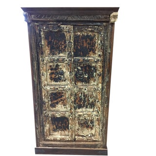 Antique Rustic Distressed Cabinet with Reclaimed Teak Doors For Sale