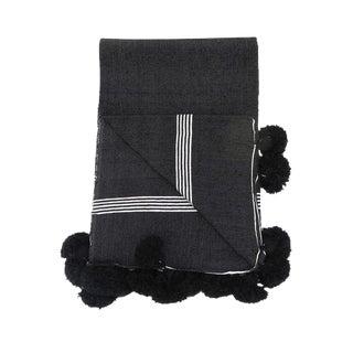 Moroccan Handwoven Black Cotton Pom Blanket For Sale