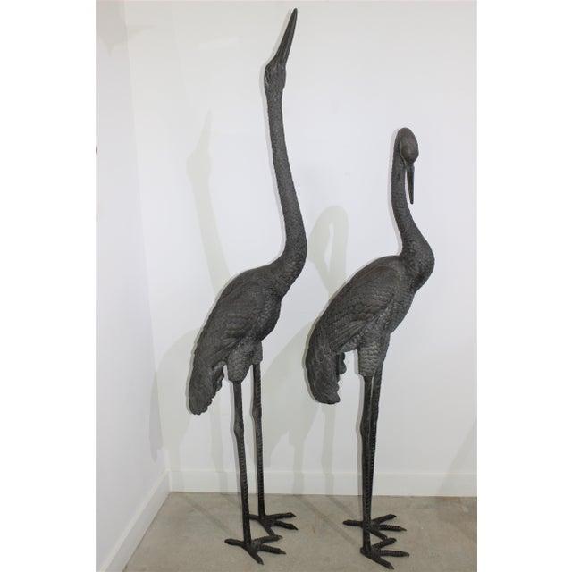 Bronze Bronze Crane Sculptures 6 Ft - a Pair For Sale - Image 8 of 13
