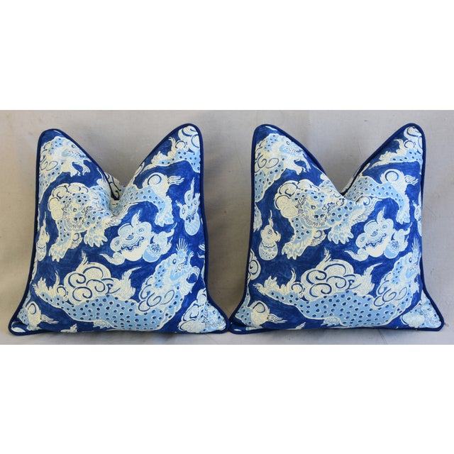 "Blue & White Chinoiserie Dragon Feather/Down Pillows 22"" Square - Pair For Sale In Los Angeles - Image 6 of 12"