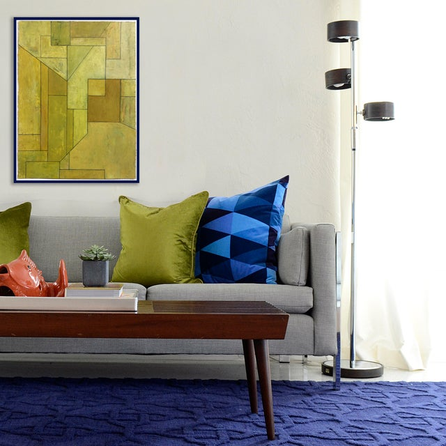 """2010s """"Olive Tree"""" Geometric Abstract Painting on Paper by Stephen Cimini For Sale - Image 5 of 6"""
