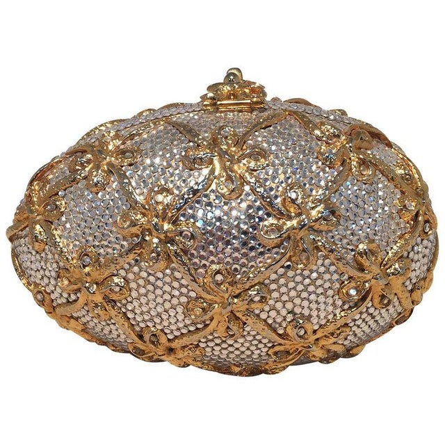 Judith Leiber Swarovski Crystal Clear and Gold Faberge Egg Minaudiere For Sale - Image 10 of 10