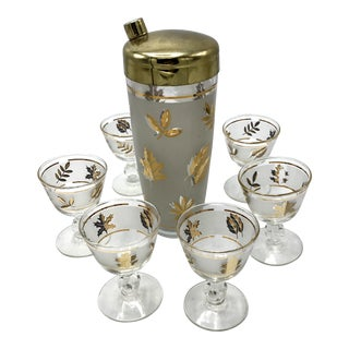 Mid-Century Frosted Gold Leaf Cocktail Shaker With Glasses - Set of 7 For Sale