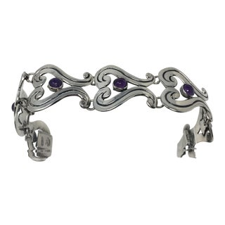 Vintage Francisco Rivera Mexican Silver and Amethyst Bracelet For Sale