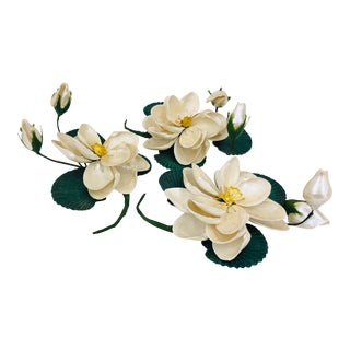 Set Vintage Handmade Seashell Magnolias For Sale