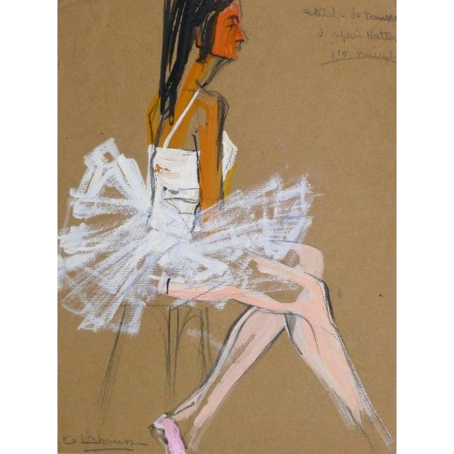 1960s G. Lahousse, Vintage French Gouache - Ballerina in White For Sale - Image 5 of 5
