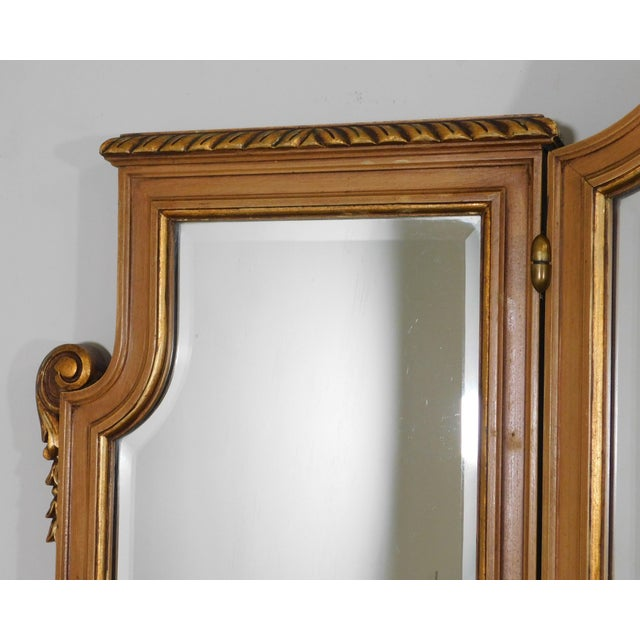 Wood 1920's Vintage French Louis XVI Style Tri-Fold Mirror with Dressing Table, Vanity For Sale - Image 7 of 13