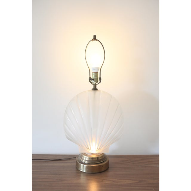 Frosted Glass Clam Shell Lamp With Brass Base - Image 2 of 6