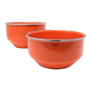Vintage Red Enameled Metal Nesting Bowls -A Pair For Sale