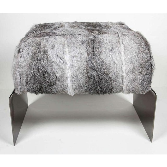 Boho Chic Luxurious Mid-Century Modern Style Lapin Fur Ottoman Stool With Black Chrome Base For Sale - Image 3 of 9