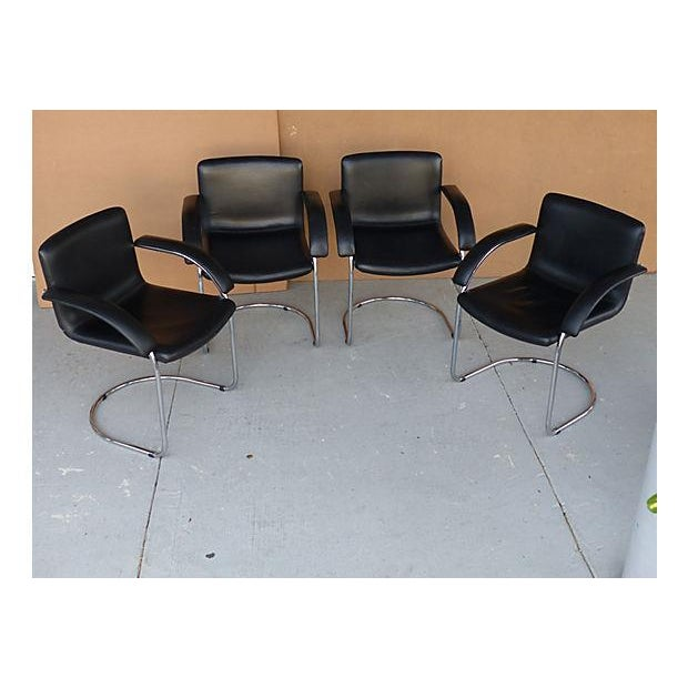 Leather Arm Chairs by Saporiti Italia - Set of 4 - Image 4 of 10