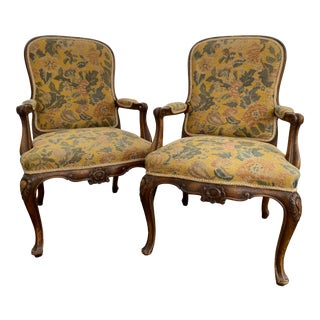 Queen Anne Style Upholstered Arm Chairs - a Pair For Sale