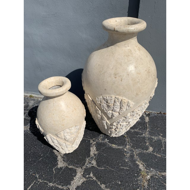 Tessellated Mactan Stone Floor Vases - A Pair For Sale - Image 4 of 12