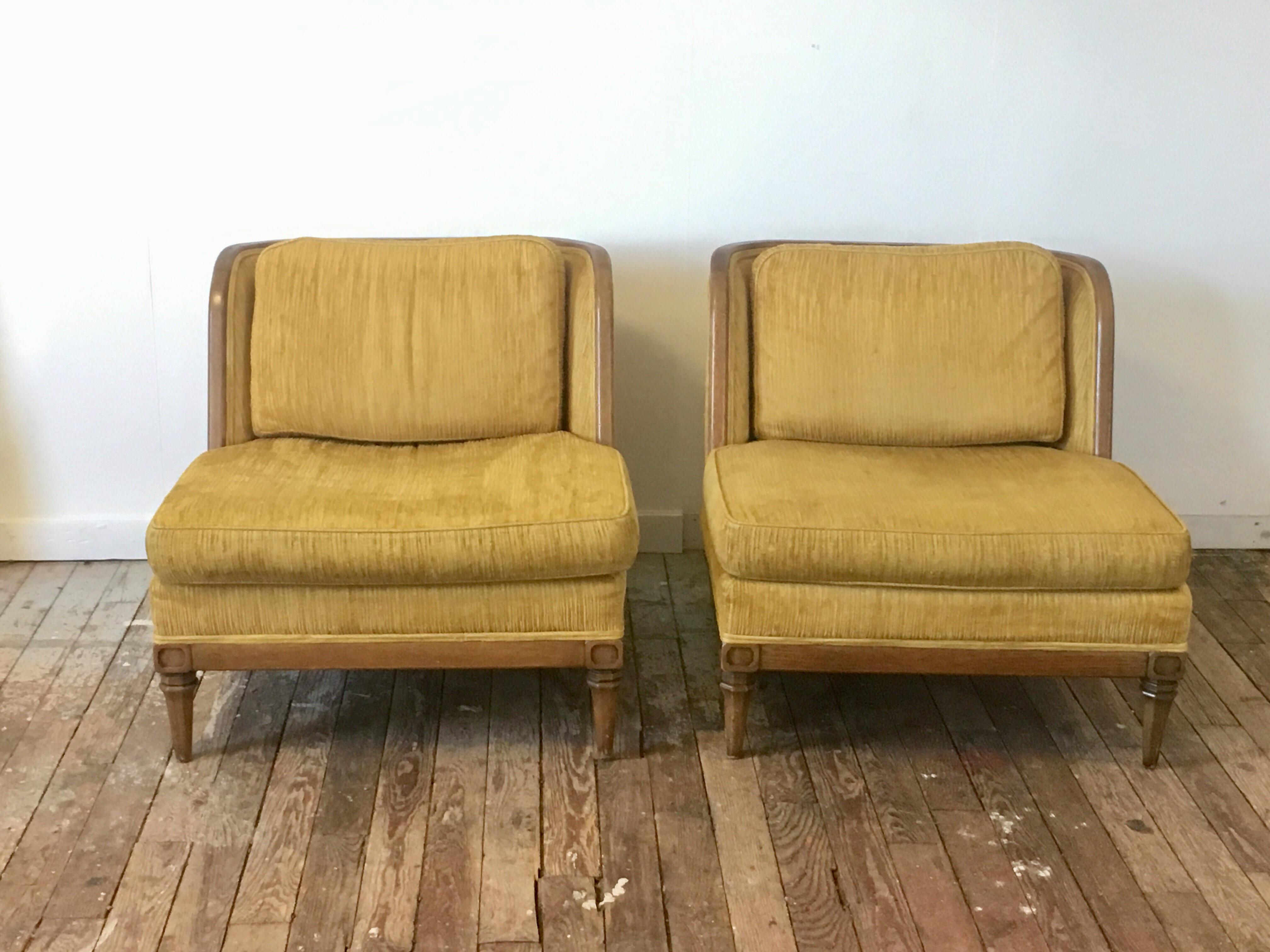 Drexel Golden Yellow Barrel Chairs A Pair Chairish
