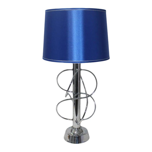 Vintage Scolari Style Table Lamp in Chrome and Blue Silk Shade For Sale