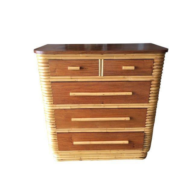 Restored Stacked Rattan Highboy Dresser With Mahogany Top For Sale