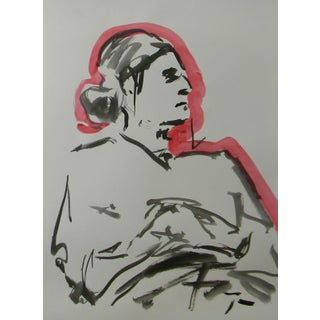 Contemporary Minimalist Figurative Ink Wash with Red Painting by Jose Trujillo For Sale