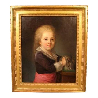 French 18th Century Portrait of a Child For Sale