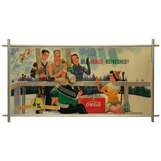 Midcentury Coca Cola Store Sign With Frame, 1959 For Sale