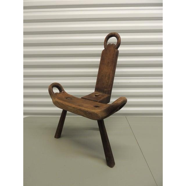 "Vintage Primitive Rustic Tripod Legs ""Birthing"" Chair For Sale - Image 5 of  5 - Vintage Primitive Rustic Tripod Legs ""Birthing"" Chair Chairish"