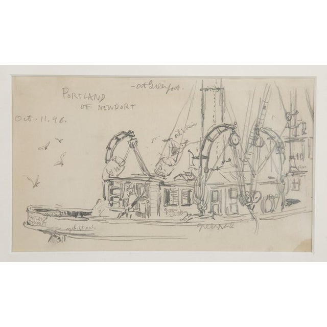 "Reynolds Beal ""Sail Boats and Fishing Boats"" Pencil Sketches - a Pair For Sale - Image 12 of 13"