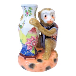 Vintage Chinese Export Porcelain Monkey With Tobacco Leaf Bud Vase For Sale