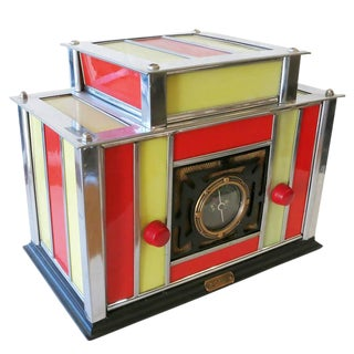 Machine Age Chrome & Stained Glass Radio by Radio-Glo, Circa 1936 For Sale