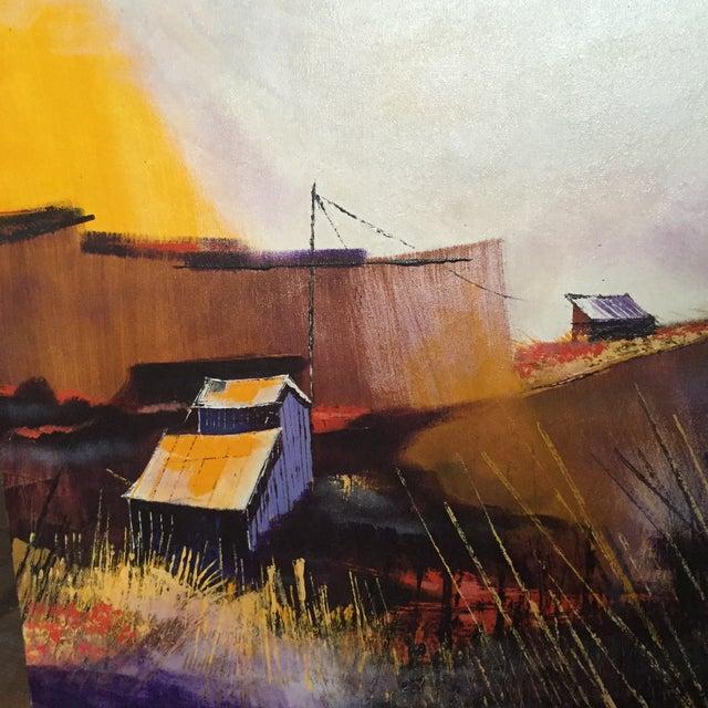 Vibrant Multi Color Mid-Century Modern Country Landscape Farm Barn Farmhouse Painting - Image 8 of 11