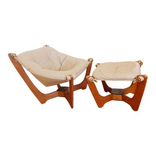 1970s Leather Luna Chair and Ottoman - Two Piece Set For Sale