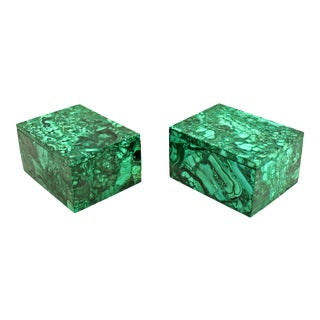 Natural Malachite Boxes Full Slabs - a Pair For Sale