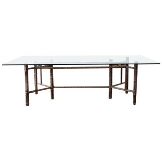 McGuire Organic Modern Bamboo Rattan Wrapped Dining Table For Sale