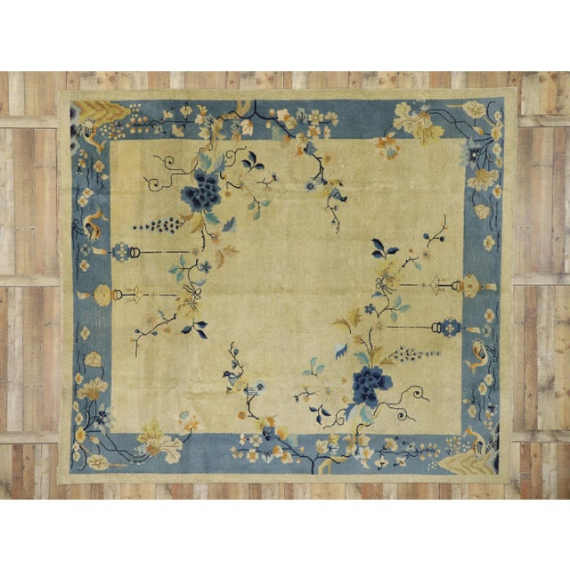 Beige Antique Chinese Peking Pictorial Rug - 10′2″ × 11′6″ For Sale - Image 8 of 10