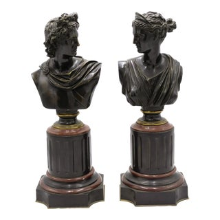 French Victorian Apollo and Diana Busts For Sale