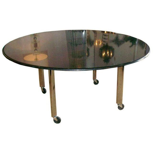 Black Vintage Joe d'Urso Table on Casters in Polished Black Granite For Sale - Image 8 of 8