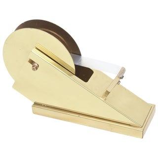 Vintage Modernist and Sculptural Brass Tape Dispenser / Tape Holder For Sale