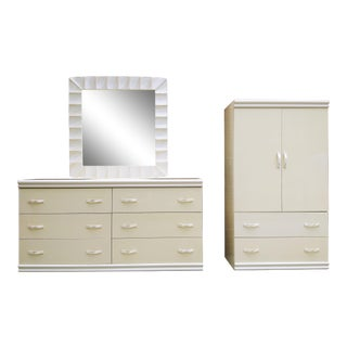 Vintage 1980s-1990s Italian Formica Dresser, Mirror, & Armoire - a Set For Sale