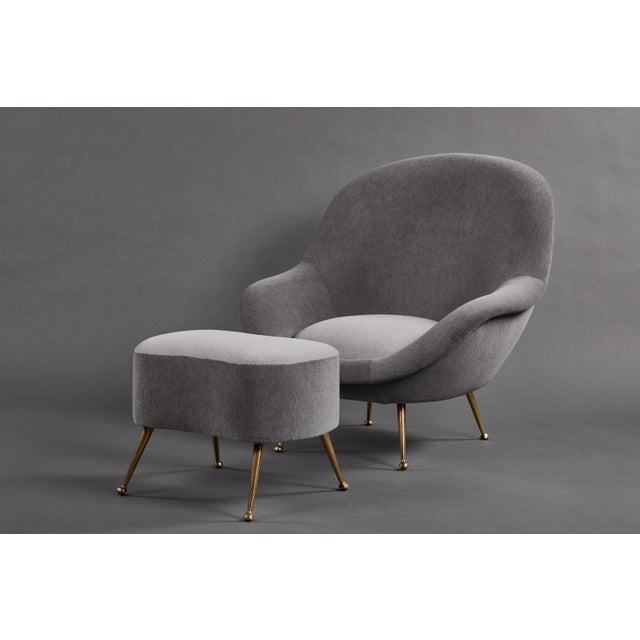 An Elegant Italian Suite of a Petite Sofa and Two Armchairs With Matching Ottomans For Sale In Los Angeles - Image 6 of 13