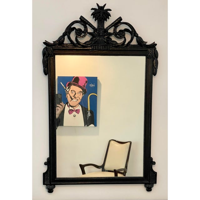 Traditional Antique Regency Style Black Paint Decorated Mirror For Sale - Image 3 of 4