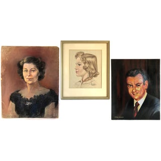 Mid-Century Gallery Wall Collection Portrait Paintings - Set of 3 For Sale