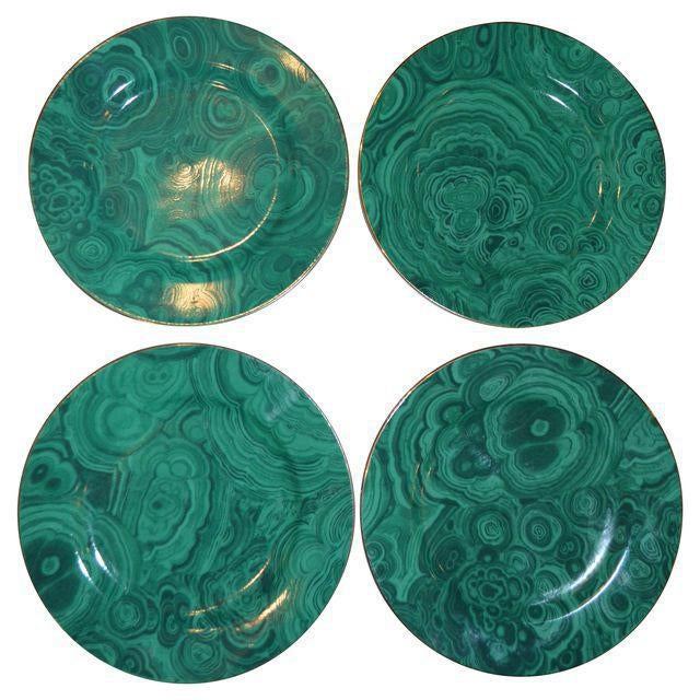 This is a set of four Neiman Marcus Dessert/Tapas Plates in an emerald green faux malachite pattern. These plates are in...