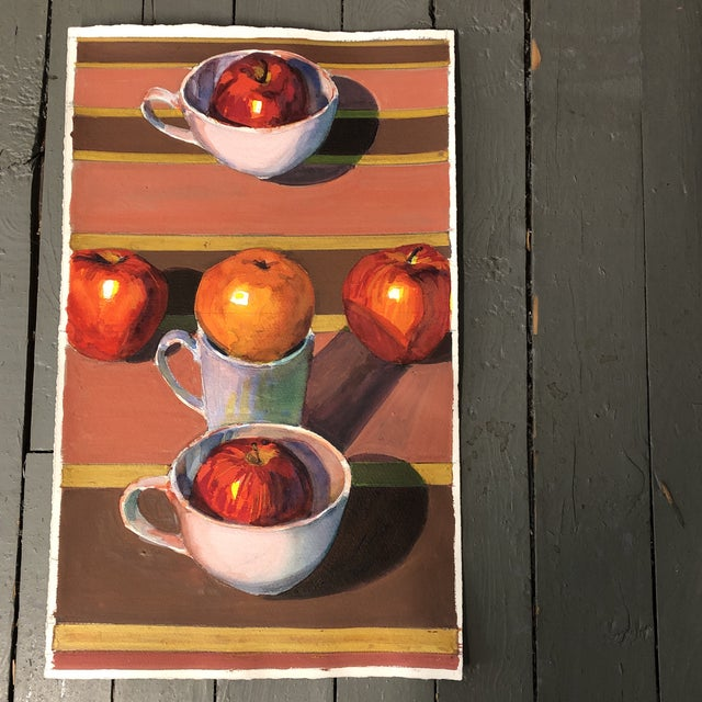 1980s Vintage Original Gouache Still Life With Apples Painting For Sale - Image 5 of 5