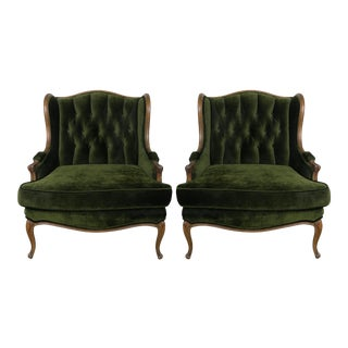 Louis XV Style Walnut and Green Velvet Wingback Bergères - A Pair For Sale