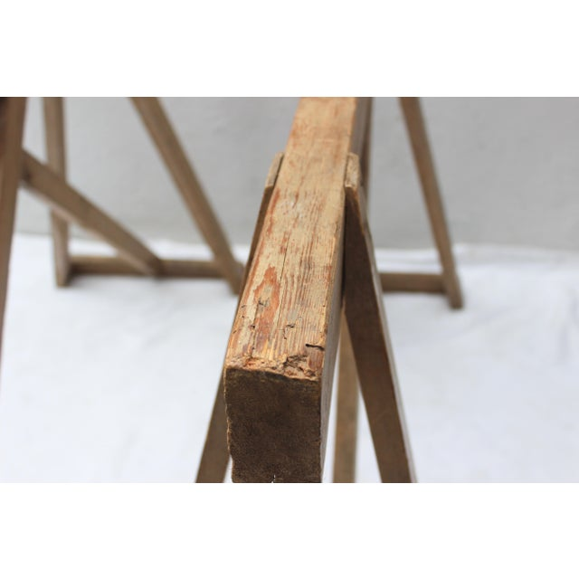 19th Century French Country Wood Saw Horse Table Bases - a Pair For Sale - Image 10 of 13