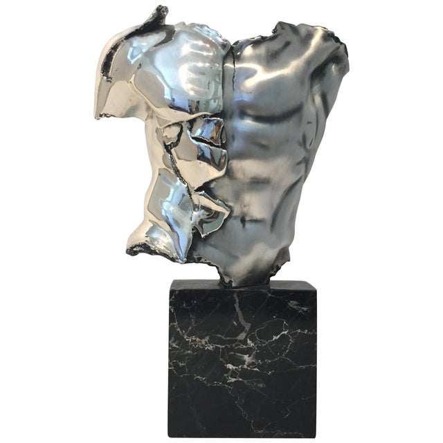 Male Torso Sculpture by Zanfeld Taxco 999 Silver-Plate Black Marble For Sale - Image 9 of 9